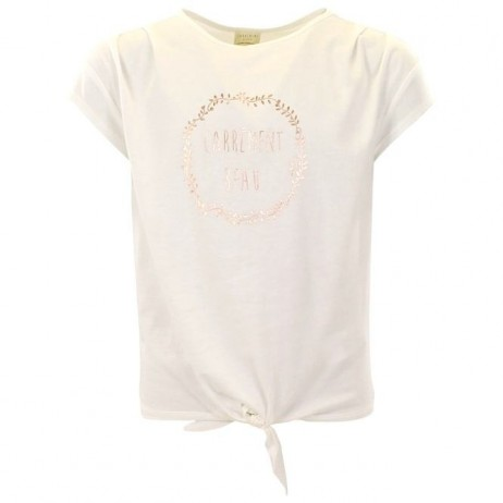 Camiseta crema nudo niña de Carrement Beau