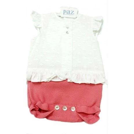 Pelele corto bebe niña de Paz Rodriguez