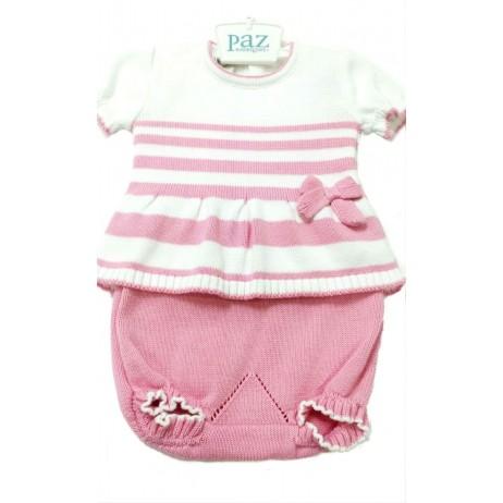 Conjunto rosa y blanco bebe niña de Paz Rodriguez