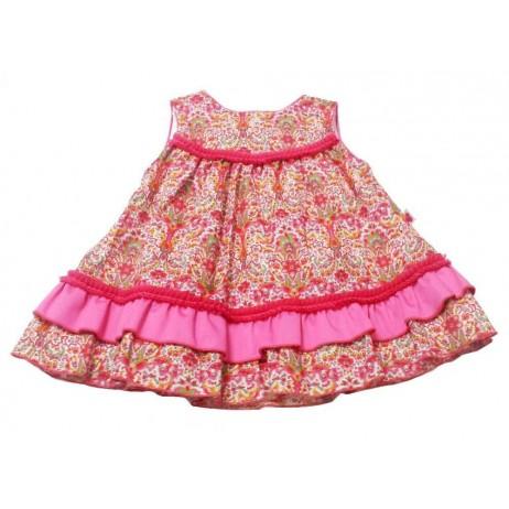 Vestido estampado fucsia bebe niña de Carmen Vazquez