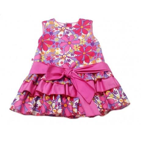 Vestido fucsia flores niña de Carmen Vazquez