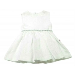 Vestido blanco brocado niña de Carmen Vazquez