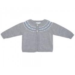 Chaqueta gris con grecas bebe niño de Fina Ejerique