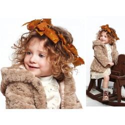 Chaquetón pelo marrón bebe niña de IDO