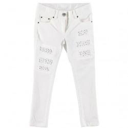 Pantalón blanco roto niña de IDO