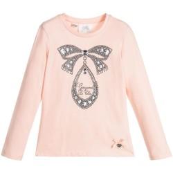 Camiseta rosa lazo niña de Le Chic