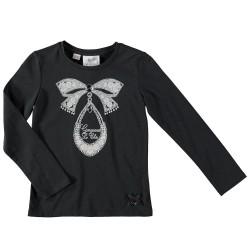 Camiseta lazo gris marengo niña de Le Chic