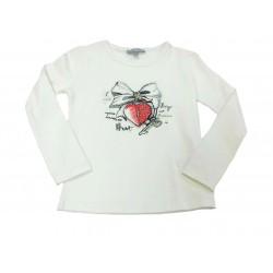 Camiseta crema niña candado corazón de Artigli Girl