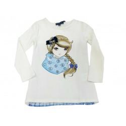 Camiseta crema niña plisada de Artigli Girl