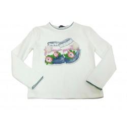 Camiseta crema niña botas de Artigli Girl