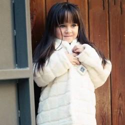 Abrigo pelo beige niña Elisabeth Puig