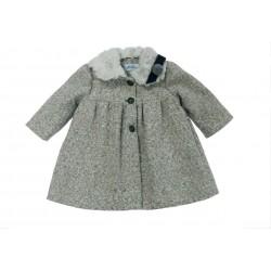 Abrigo gris jaspeado bebe niña de Teresa Rodriguez