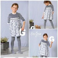 Vestido estampado gris niña de A Gatas