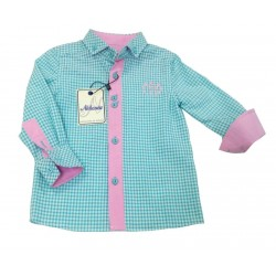Camisa cuadros turquesa bebe niño de Nekenia