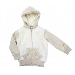 Chaqueta beige con capucha bebe niña de IDO
