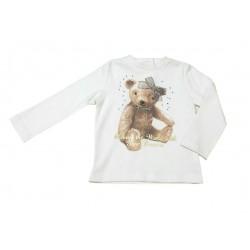 Camiseta crema bebe niña osito de IDO