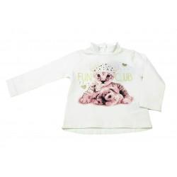 Camiseta crema gatito bebe niña de IDO