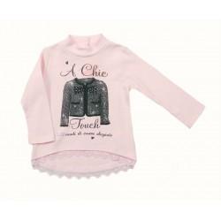 Camiseta rosa palo bebe niña de IDO