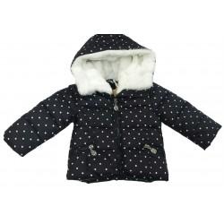 Cazadora acolchada negra con topitos bebe niña de IDO