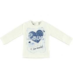 Camiseta crema bebe niña corazones azules de IDO