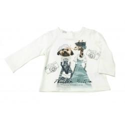 Camiseta crema bebe niña glamour de IDO