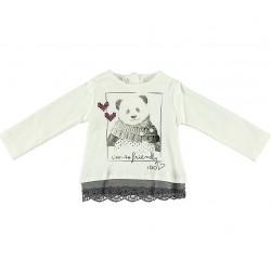 Camiseta crema bebe nina oso gris de IDO
