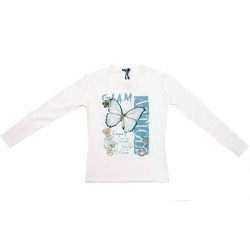 Camiseta crema niña con strass de Artigli Girl