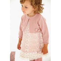 Vestido encaje rosa bebe niña de Paz Rodriguez