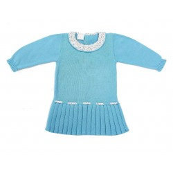Vestido punto azul capri bebe niña de Paz Rodriguez