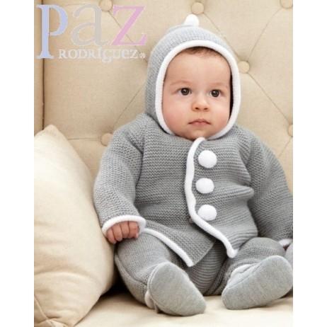 Chaquetón punto gris bebe de Paz Rodriguez