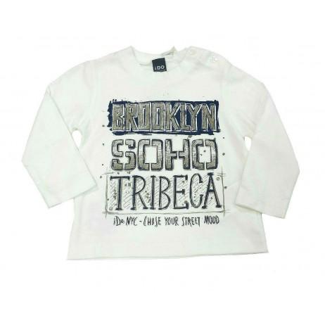 Camiseta crema bebe niño letras de IDO
