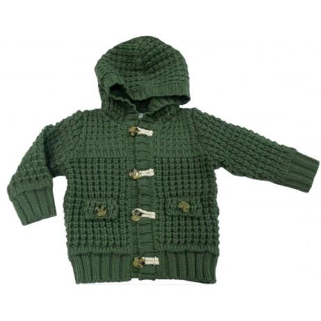 Chaqueta verde punto grueso bebe niño de IDO
