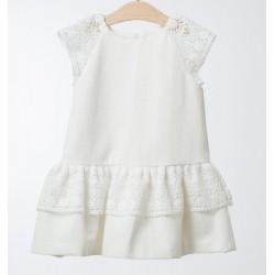 Vestido volantes niña blanco roto de Fina Ejerique