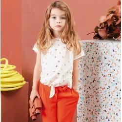 Camiseta rosa palo niña hojas de Carrement Beau