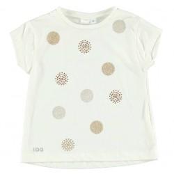 Camiseta crema niña con topitos de IDO