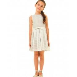 Vestido niña beige y crema de IDO