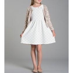 Vestido niña topitos beige de IDO
