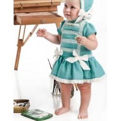 Vestido lino bebe niña verde de Cocote