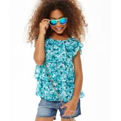 Blusa volantes turquesa niña de IDO
