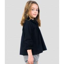 Blusa plumeti negra con volantes niña de Sinfonietta