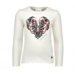 Camiseta crema corazon niña de Le Chic