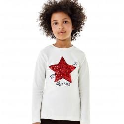 Camiseta crema niña estrella lentejuelas de IDO