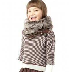Jersey rayas niña marron y gris de IDO