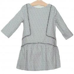 Vestido gris y blanco niña de Fina Ejerique