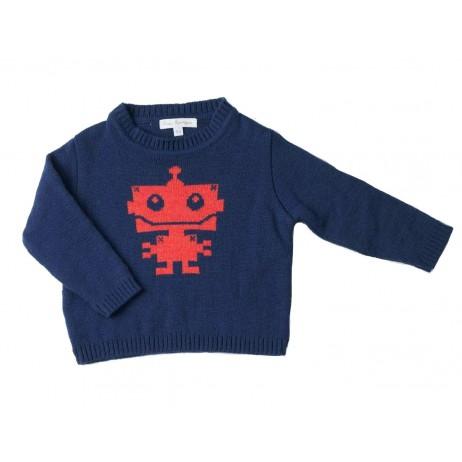 jersey azul marino robot rojo coral de Fina Ejerique