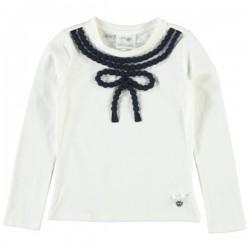 Camiseta crema niña lazo de Le Chic