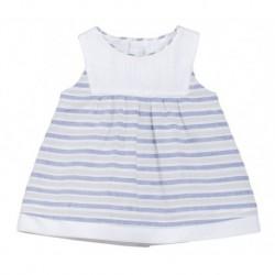 Vestido rayas azul y beige bebe niña de Fina Ejerique